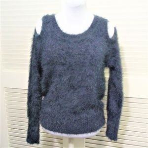 Moth Fuzzy Long Sleeve Cold Shoulder Sweater